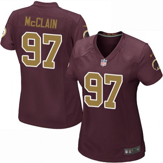 Nike Terrell McClain Washington Redskins Game Red/Gold Burgundy Number Alternate 80TH Anniversary Jersey - Women's